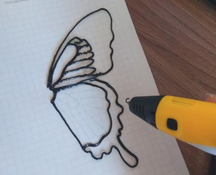 Бабочка 3D ручкой, пластик ABS 3D ручка, Работа 3D ручкой, Творчество, Бабочка, Хобби, Myriwell, Длиннопост