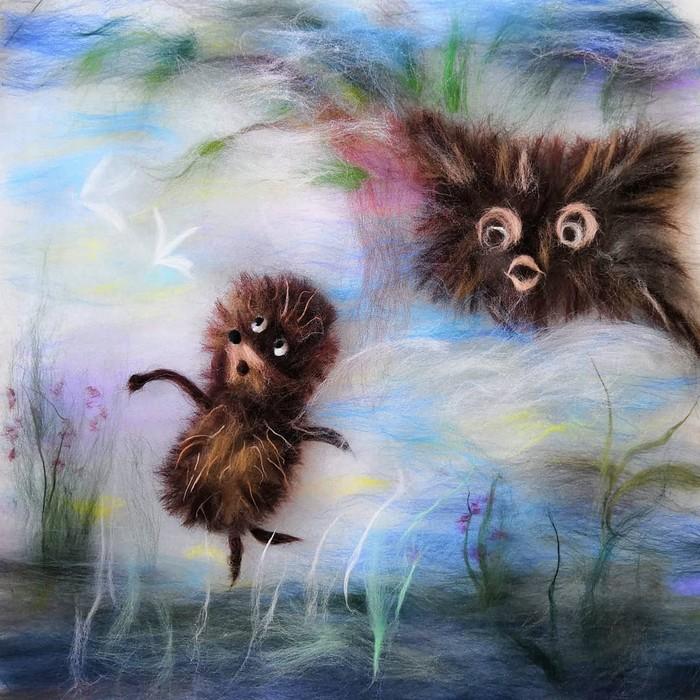 Ёжик в тумане — 2 (Шерстяная акварель) Шерстяная акварель, Картина шерстью, Сухое валяние, Ежик в тумане, Валяние, Своими руками