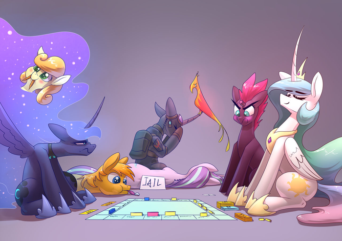 Монополия My Little Pony, Princess Luna, Princess Celestia, Tempest Shadow, Starlight Glimmer, Carrot Top, Philomena