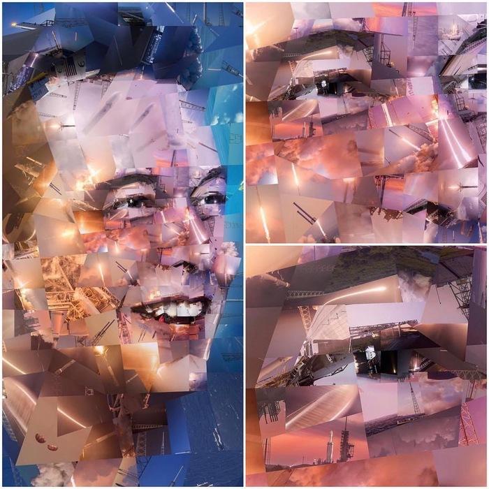 Портрет Илона Маска, созданный из фотографий ракет Falcon.