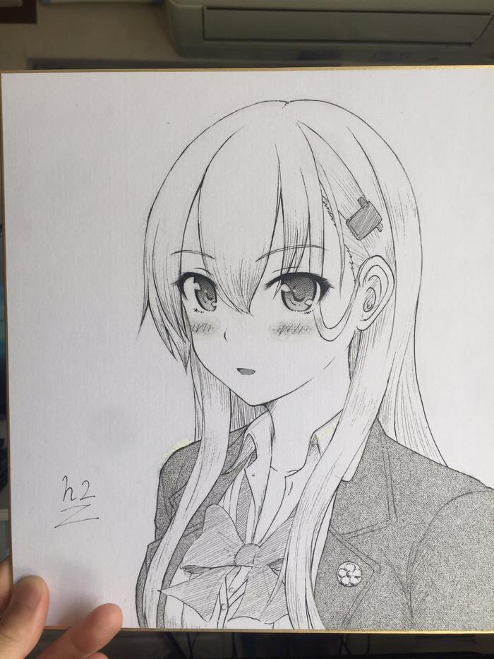 Suzuya Anime Art, Аниме, Kantai Collection, Suzuya, Монохром, Длиннопост