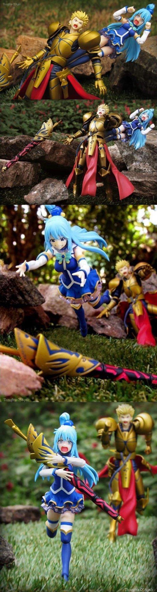 Аква решила попасть на небеса побыстрее Аниме, Fate, Konosuba, Crossover, Длиннопост, Gilgamesh
