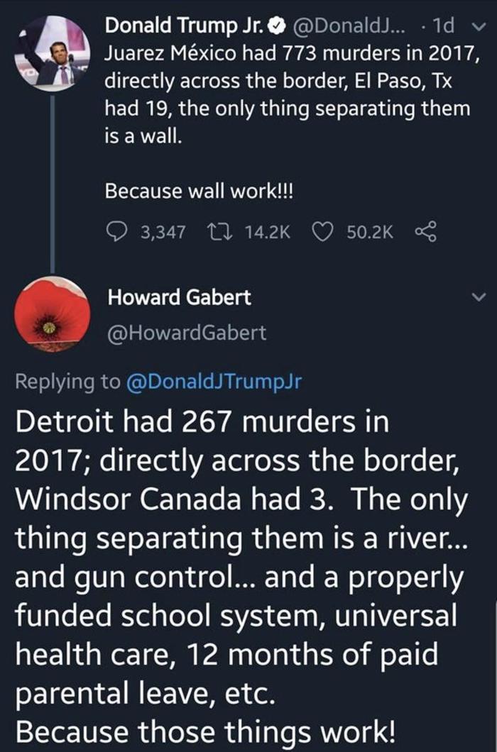 Убийственный контраргумент на довод сына Трампа Трамп, Twitter, Стена, Мескика, США, Канада, Убийство, Политика