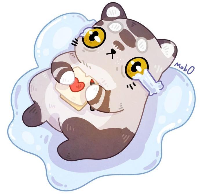 Печальный котик - Спидпейнт Арт, Рисунок, Иллюстрации, Кот, Mob0, Speed painting, Видео, Цифровой рисунок, Мемы