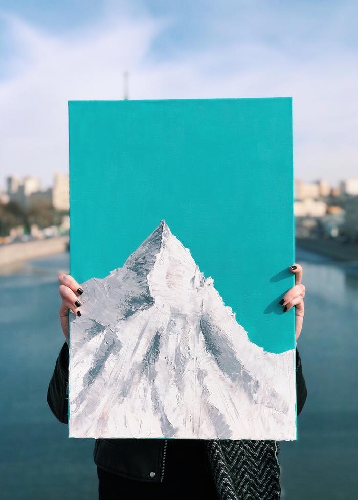 Эверест, а может и нет Холст, Картина маслом, Живопись, Горы, Эверест, Картина, Масло