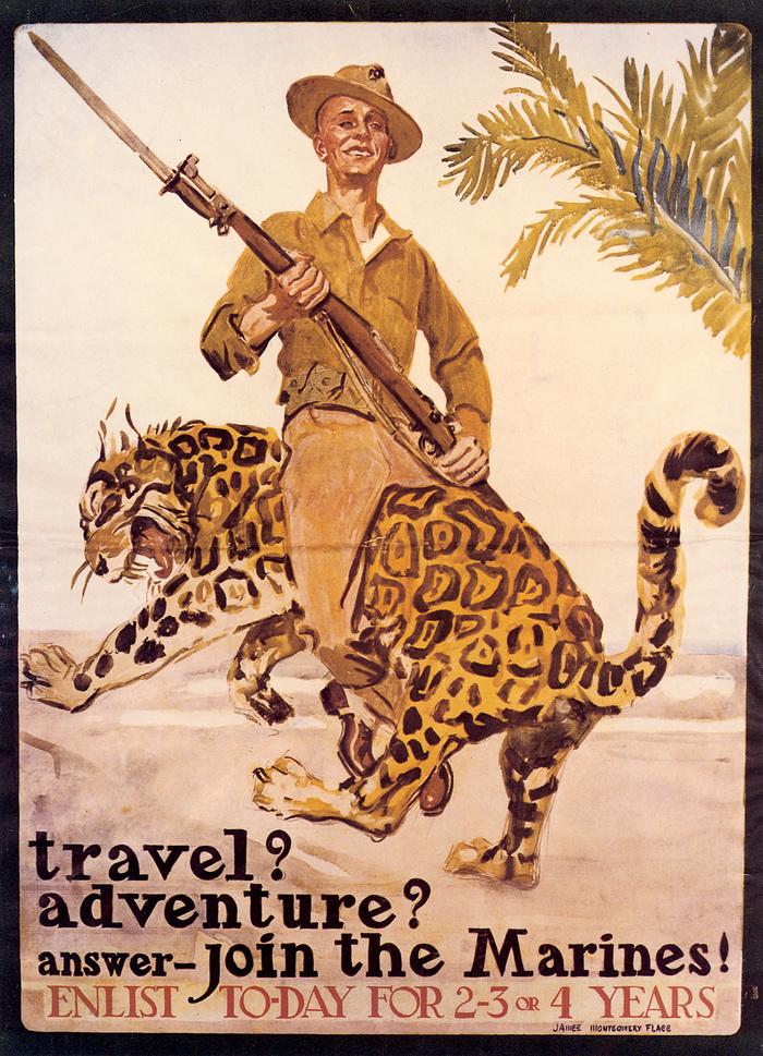 Путешествия? Приключения? - Ответ один: вступай в морскую пехоту! США, Агитация, 1917, Морская пехота