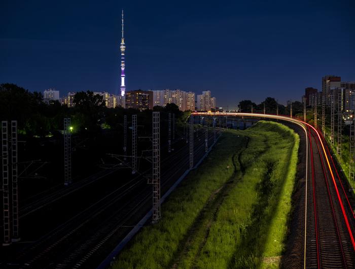 Вечернее движение Москвы Москва, Фотография, Железная Дорога, Закат, Вечер, Длинная выдержка, Длиннопост