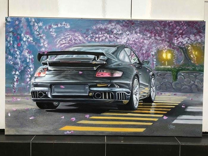 Картина маслом Porsche 911 gt2. Размер 100*170см. Porsche, Porsche 911, Масло, Картина, Холст, Длиннопост, Картина маслом, Авто
