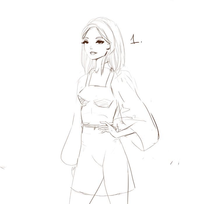 Я решила сохранять промежуточные этапы рисования девушек. Делюсь с вами тем, что получилось Красивая девушка, Набросок, Скетч, Одежда, Рисунок, Цифровой рисунок, Длиннопост, Девушки, Этапы