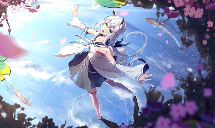 Кружащаяся лиса Anime Art, Аниме, Арт, Virtual youtuber, Shirakami Fubuki, Lazy guang guang, Animal Ears