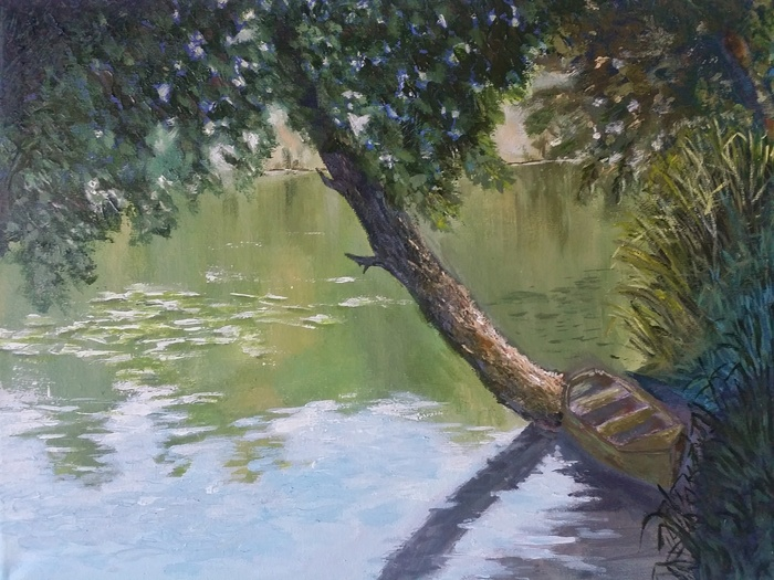 Деревенская речка Картина, Акрил, Длиннопост, Пейзаж, Природа, Река, Лодка, Дерево