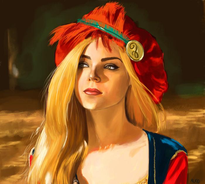 Присцилла Портрет по фото, Присцилла, Ведьмак, Ведьмак 3, Девушки, Портрет, Цифровой рисунок, Рисунок