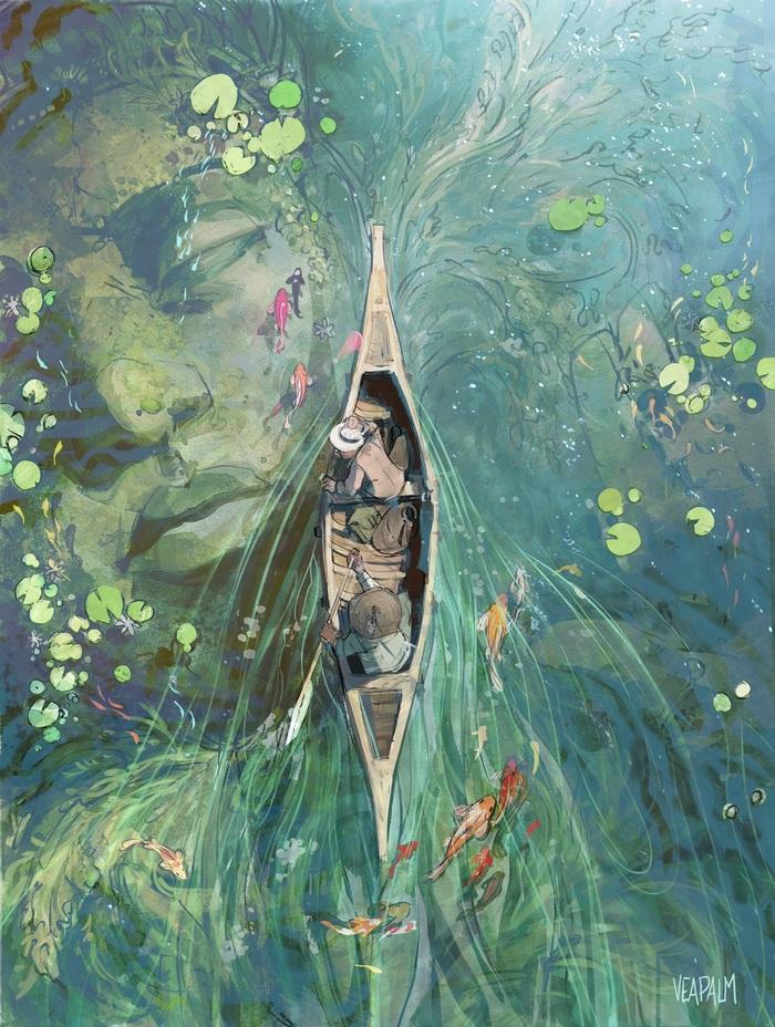 Под лилиями Арт, Рисунок, Лодка, Озеро, Статуя