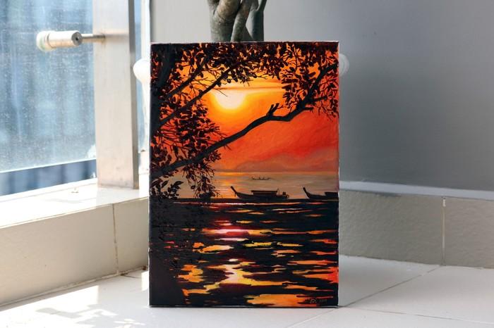 Рассвет на Филиппинах. Живопись, Холст, Пейзаж, Картина маслом, Рассвет, Арт, Море