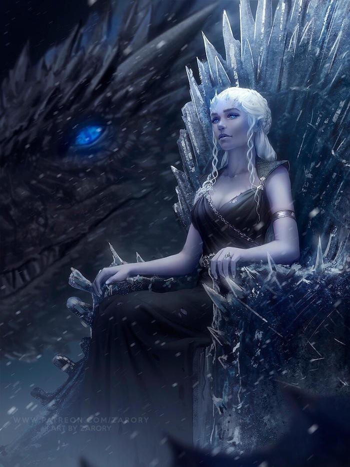 Несколько артов по игре престолов. Игра престолов, Дейенерис Таргариен, Король ночи, Длиннопост, Арт, Дракон