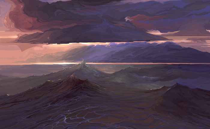 Далекое море Photoshop, Живопись, Цифровой рисунок, Рисунок, Пейзаж, Горизонт, Горы, Облака