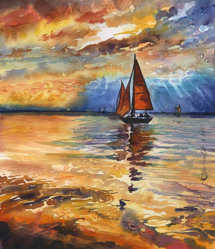 Пейзажи, рисунки Пейзаж, Акварель, Цветные карандаши, Живопись, Рисунок, Длиннопост, Море