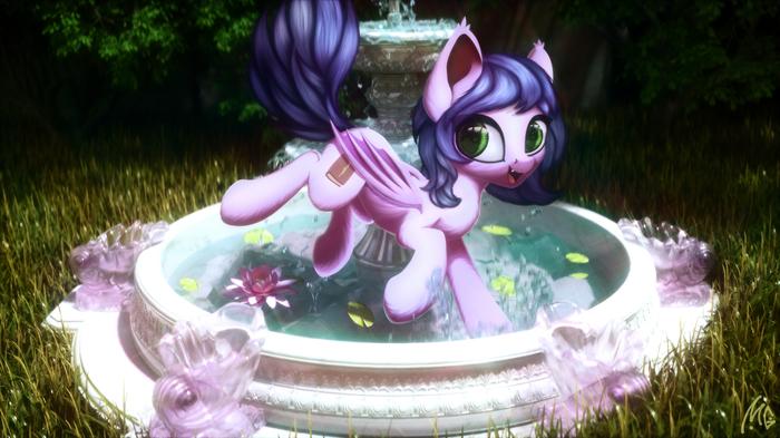 Не купаться в фонтане!!! My Little Pony, Ponyart, Пони, Original Character, Трава