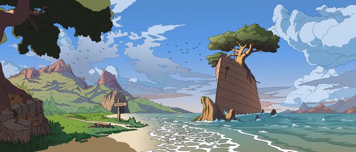 Убежище у моря. Море, Рисунок, Арт, Корабль, Длиннопост, Горы, Пейзаж, Цифровой рисунок