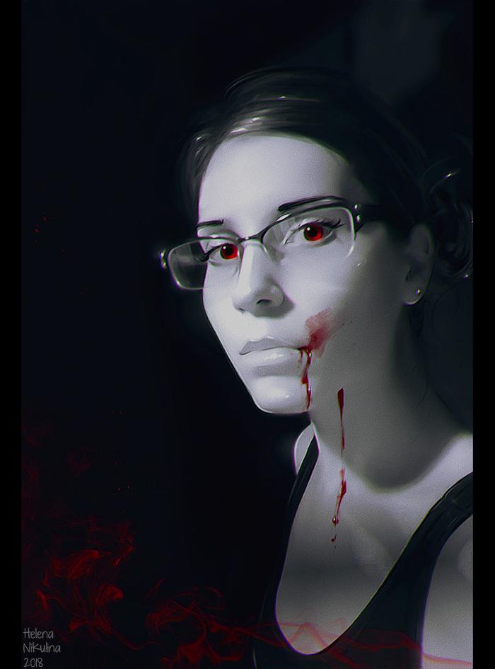 Dark Selfie - VAMPIRE.Продолжение серии. Арт, Елена Никулина, Селфи, Серия, Вампиры, Кровь, Девушка в очках, Черно-Белое фото