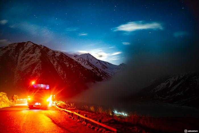 Большое Алматинское Озеро ночью Казахстан, Алматы, Фотография, Звёзды, Красота, Туризм, Длиннопост, Горы