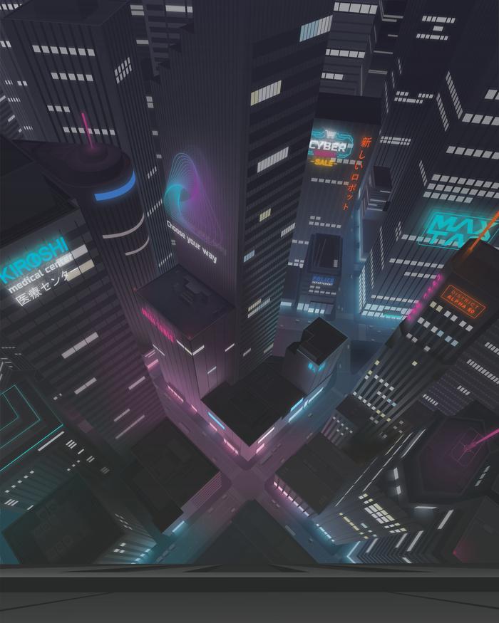 Иллюстрация ночного города Векторная графика, Иллюстрации, Adobe Illustrator, Рисунок, Цифровой рисунок, Город, Неон
