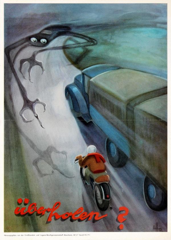 «Обогнать?». ФРГ, 1950-е гг. Немецкие плакаты, Плакат, Дорога, Обгон, Смерть, Опасность, Техника безопасности, Мотоциклист