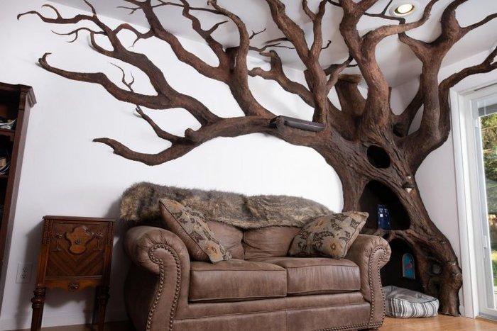Мужчина сделал кошке дерево для отдыха Кот, Дерево, Инсталляция, Отдых кота, Длиннопост
