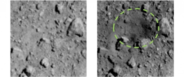 «Хаябуса-2» сфотографировала место попадания импактора SCI Космос, Фотография, Хаябуса-2, Попадание, Sci, Рюгу, Гифка