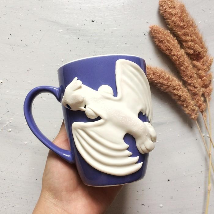 Декор кружки: Дневная фурия Полимерная глина, Как приручить дракона, Кружка с декором, Рукоделие с процессом, Ручная работа, Длиннопост, Видео