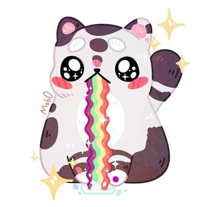 Милый котик - Спидпейнт Рисунок, Иллюстрации, Кот, Mob0, Радуга, Видео, Цифровой рисунок, Мемы, Процесс рисования