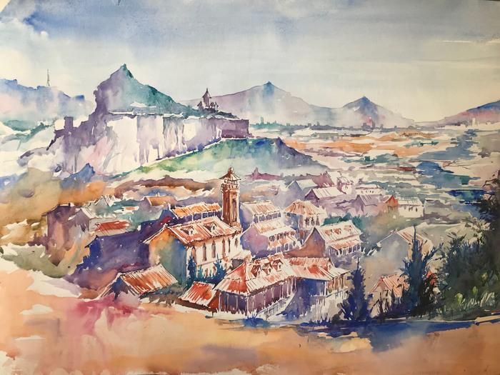 Тбилиси Акварель, Грузия, Тбилиси, Пейзаж, Город, Длиннопост