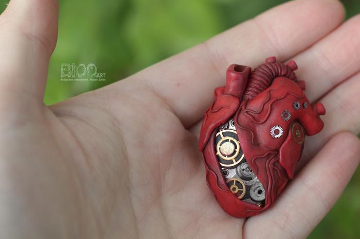Брошь сердце. Полимерная глина, Сердце, Брошь