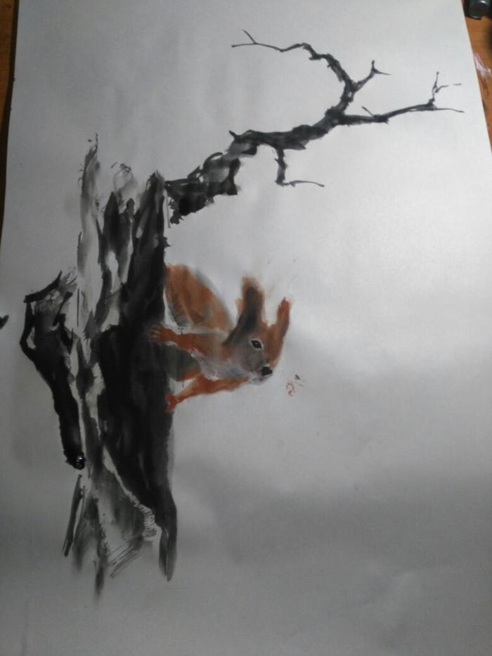 Белка - китайская живопись Белка, Китайская живопись, Тушь