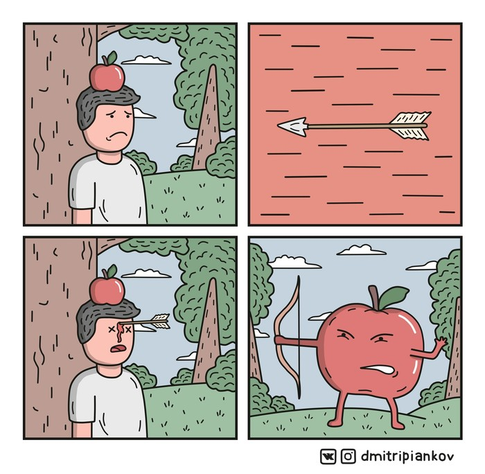 Яблоко Комиксы, Веб-Комикс, Юмор, Стрельба из лука, Смешное