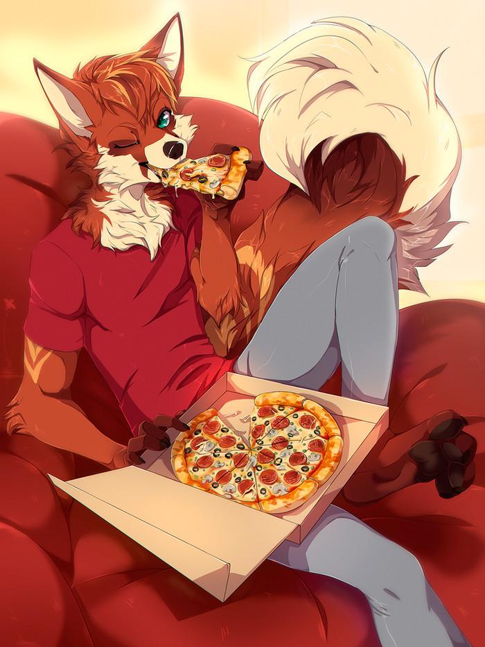 Pizza time! Фурри, Furry Art, Furry Hybrid, Furry Fox, Furry Panda, Красная лиса, Красная панда, Rikitoka