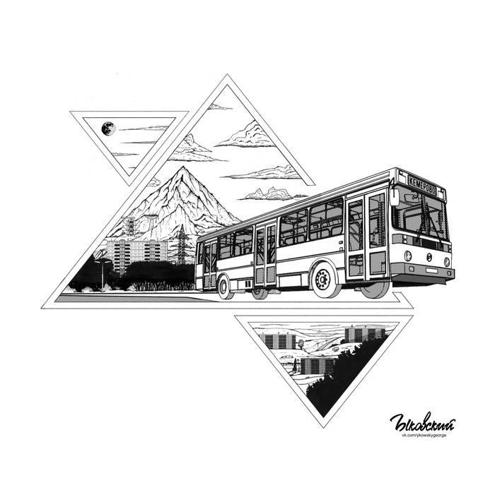 На фоне горы. Арт, Рисунок, Графика, Тушь, Автобус, Лиаз, Горы, Пейзаж