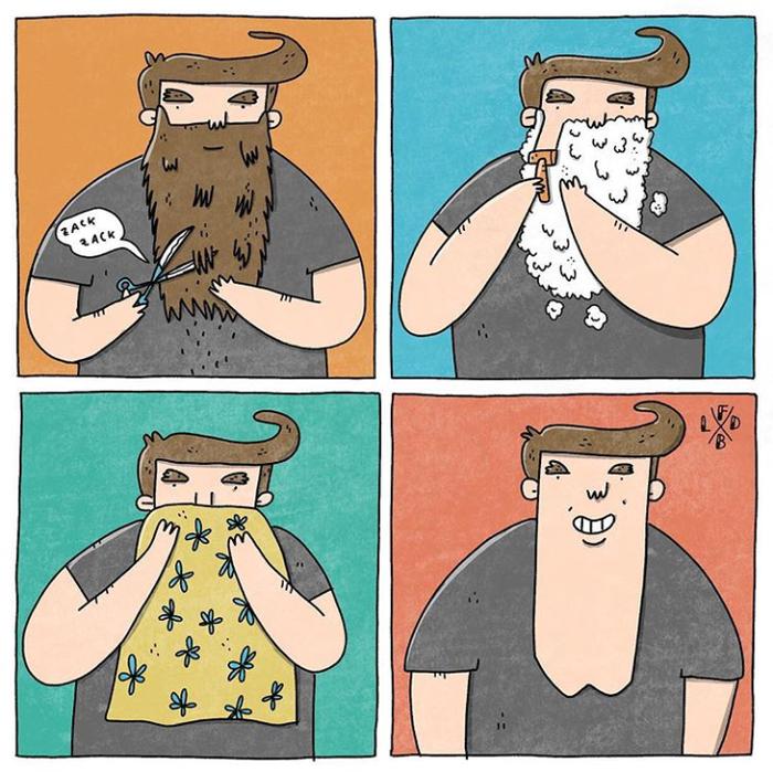 Хипстер Lafabbricadibraccia, Комиксы, Борода