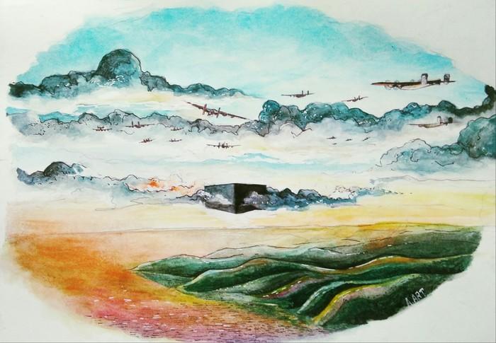 Облака Фэнтези, Арт, Рисунок, Творчество, Акварель, Пейзаж, Небо, Самолет