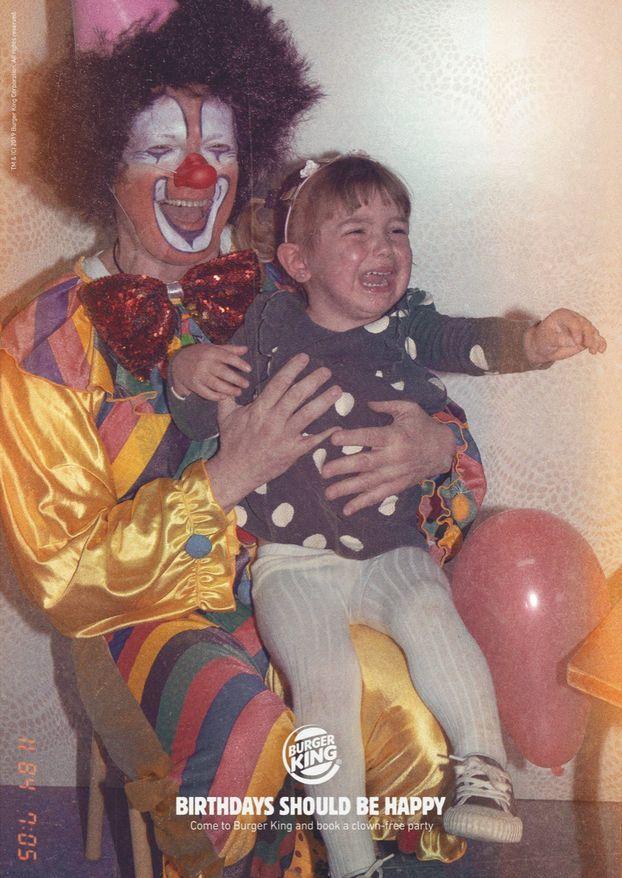 «Дни рождения должны быть счастливыми»:Burger King снова потроллил McDonald's Макдоналдс, Клоуныубийцы, Клоун, Реклама, Еда, Длиннопост