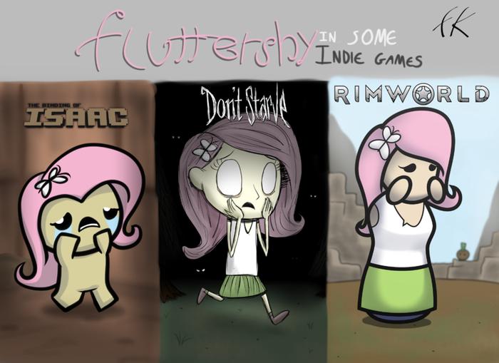 Флаттершай в инди играх The Binding of Isaac, Dont Starve, Rimworld, My Little Pony, Fluttershy