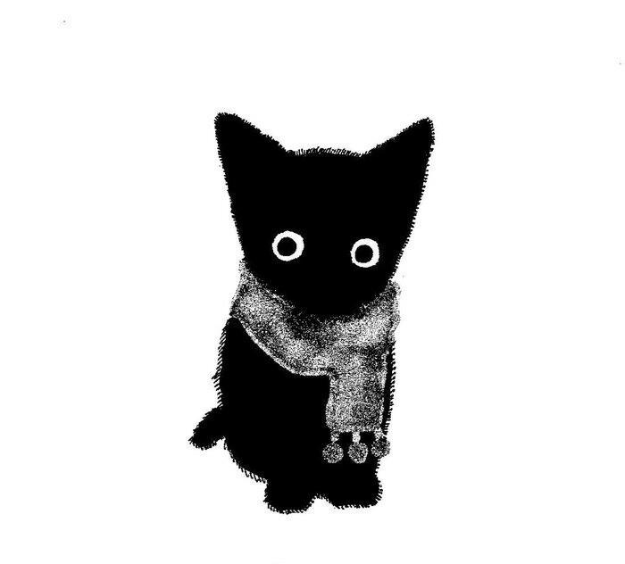 Зяблик Котомафия, Кот, Черный кот, Шарф, Арт, Рисунок, Черно-Белое