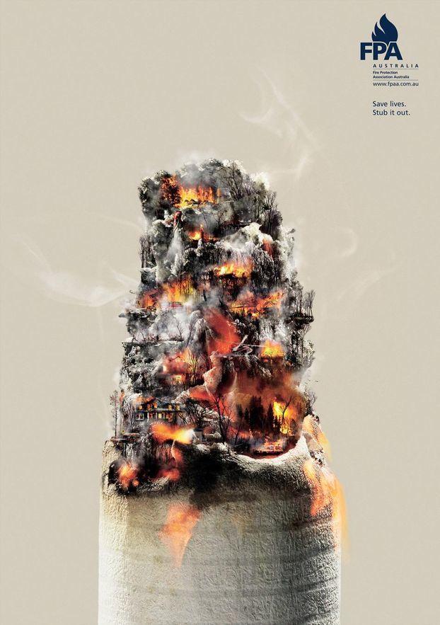 Бычки-убийцы: креативная социальная реклама из Испании предостерегает курильщиков Экология, Природа, Курильщики, Сигареты, Пожар, Креативная реклама, Длиннопост