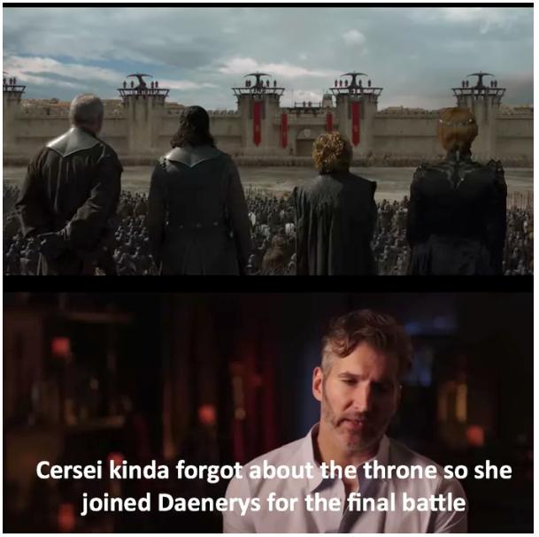 Серсея просто забыла про трон, поэтому она присоединилась к Дейнерис в финальной битве