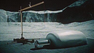 Строительство лунной базы в кратере Шеклтон. Луна, Освоение луны, NASA, Гифка, Видео