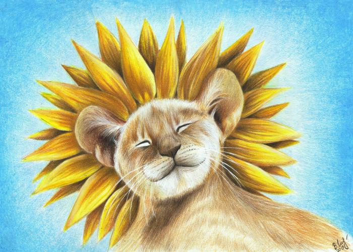 Львенок-подсолнушек Львята, Цветные карандаши, Арт, Рисунок, Вера Изотова, Иллюстрации, Милота, Животные