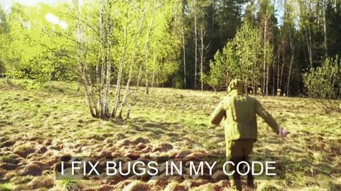 Я чиню баги в своем коде Программирование, Badcomedian, Гифка