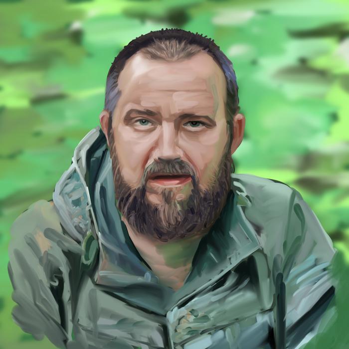 Портрет поисковика Портрет, Цифоровой рисунок, Борода, Мужчина, Photoshop, Миксер