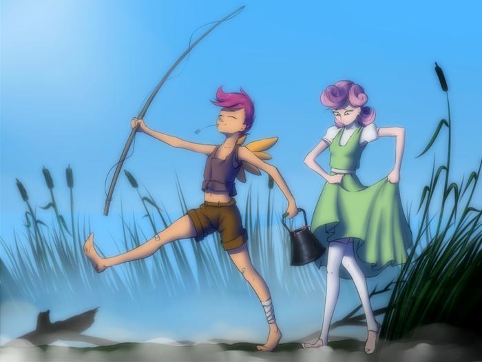 Идут на рыбалку My Little Pony, Scootaloo, Sweetie Belle, Рыбалка, Хуманизация, Арт, Madhotaru