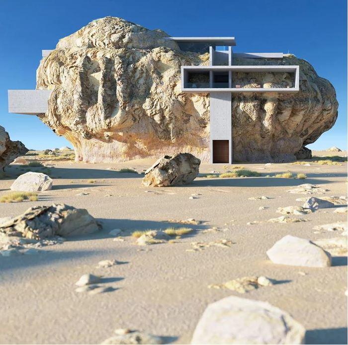 Проект дома внутри скалы. Архитектура, Современная архитектура, Длиннопост